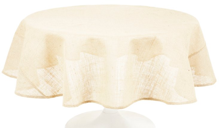 Round Burlap Tablecloth, Cream