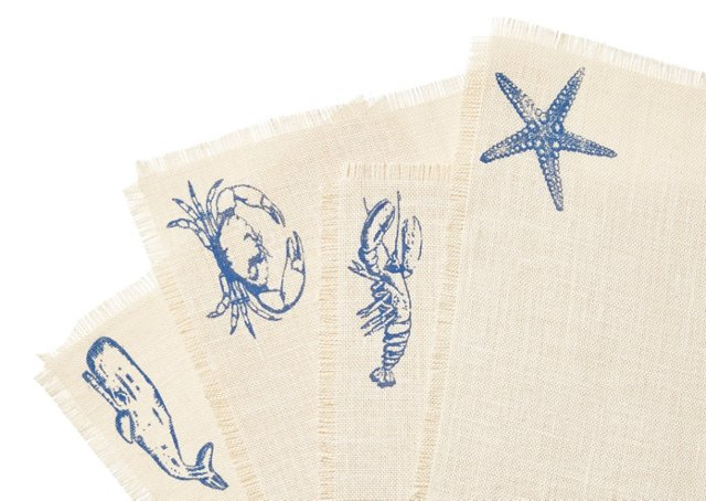 S/4 Assorted Sea-Life Place Mats, Blue