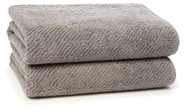 S/2 Quick-Dry Hand Towels, Graphite