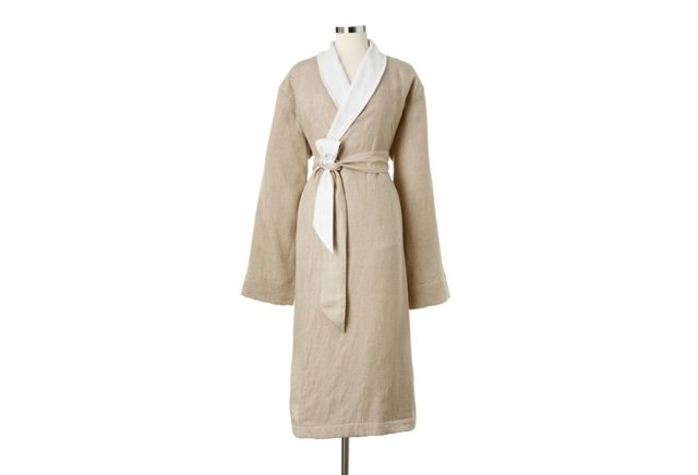Linen & Terry Robe, Natural/White