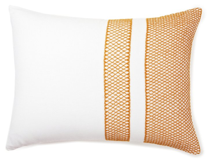 Labyrinth Sham, White/Mustard