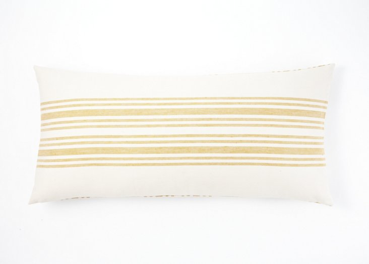 Striped Linen Small Dec Pillow, Ochre