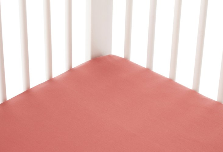 Percale Crib Sheet, Dusty Rose