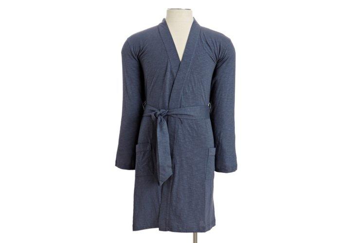 Large Men's Slub Jersey Hooded Robe, French Blue
