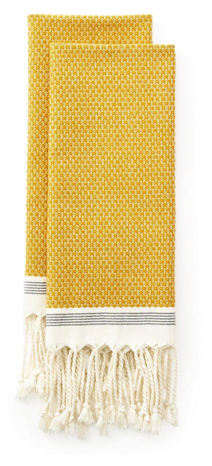 S/2 Mediterranean Guest Towels, Mustard