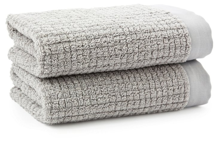 S/2 Sumptuous Hand Towels, Pewter