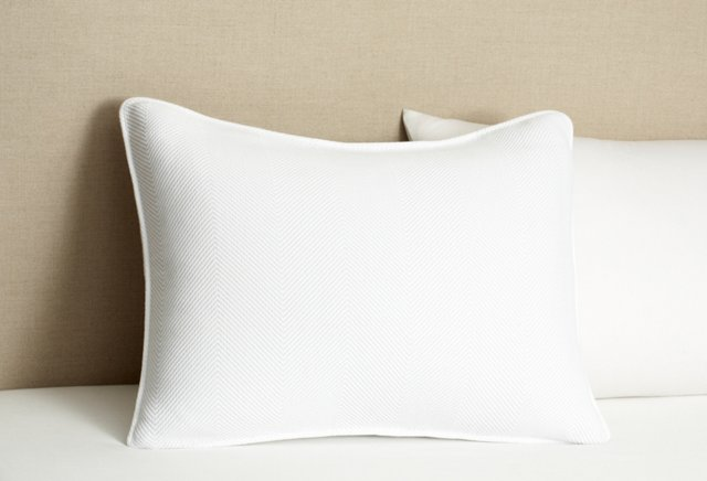 Herringbone Std Sham, White/Mid Gray