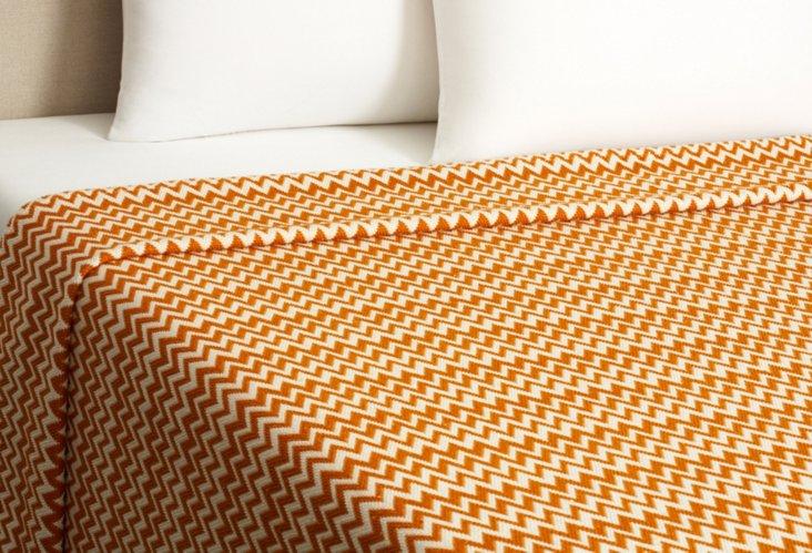 Zigzag Coverlet, Ivory/Tangerine