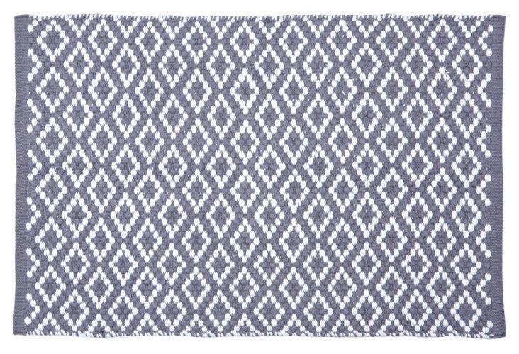 2'x3' Diamond Pebble Rug, Pewter/White