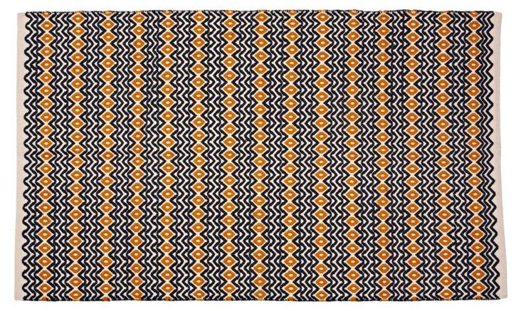 Wave Rug, Charcoal/Tangerine