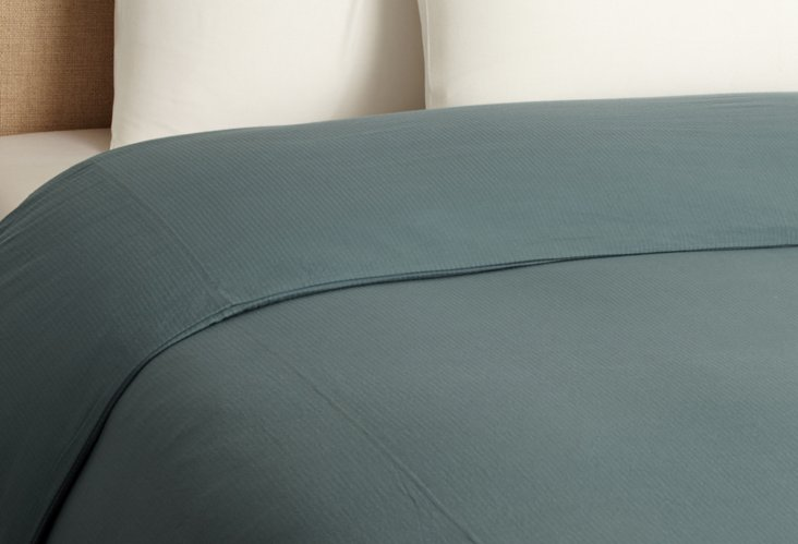 Seersucker Duvet Cover, Dusty Aqua