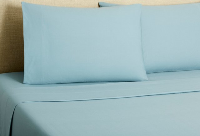 220 Percale Sheet Set, Pale Ocean