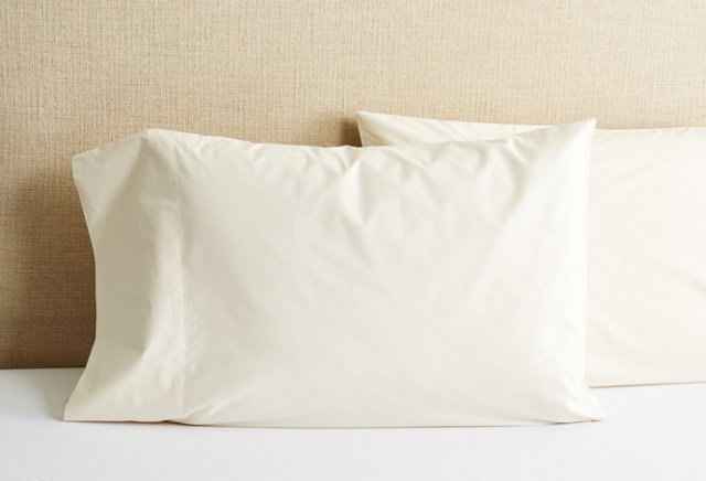 Percale Standard Pillowcase, Natural