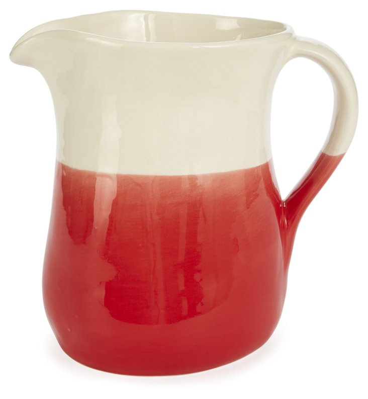 Hand-Dipped Earthenware Pitcher, Red