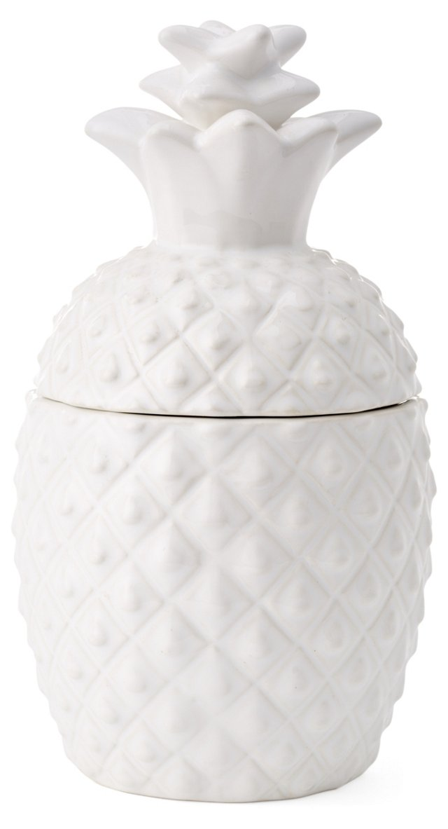 "15"" Pineapple Canister, White"