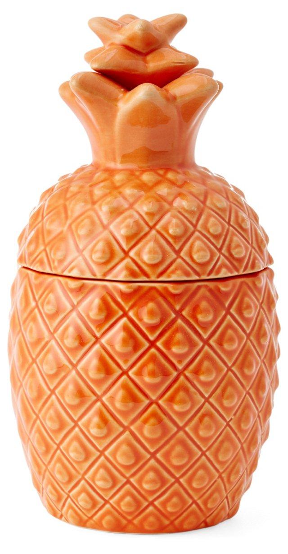 "17"" Pineapple Canister, Orange"