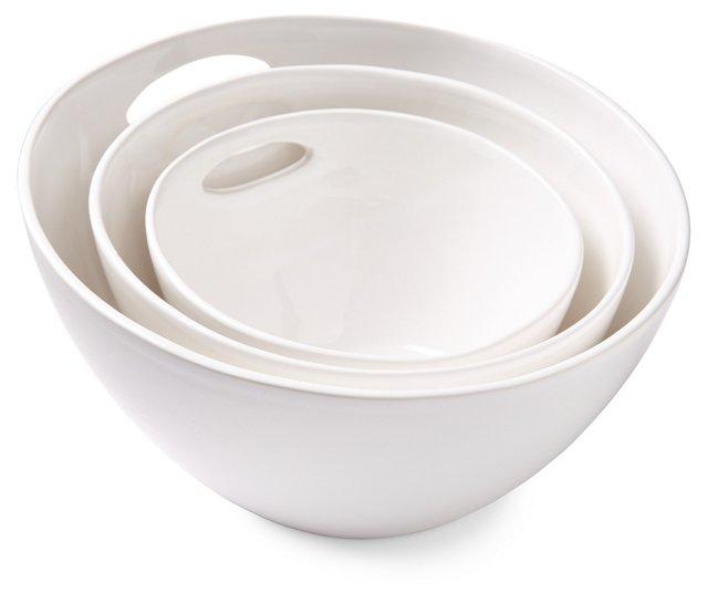 3-Pc Nesting Bowl Set w/ Cutouts, White