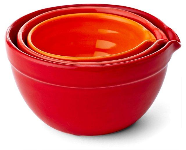 3-Pc Mixing Bowl Set, Red