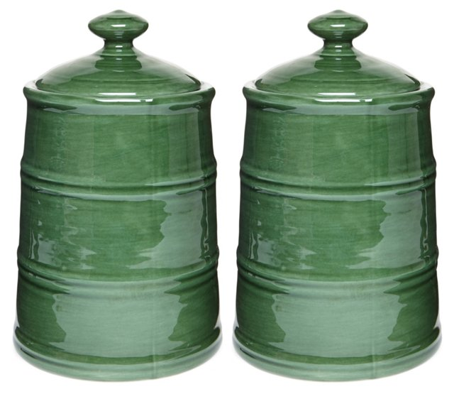 S/2 Earthenware Canisters, Green