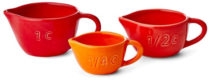 S/3 Assorted Measuring Cups, Red