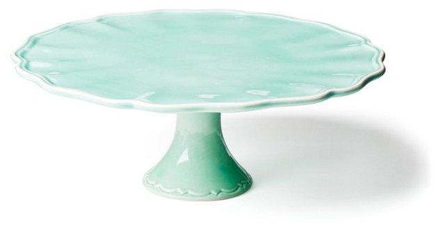Earthenware Cake Stand, Jade