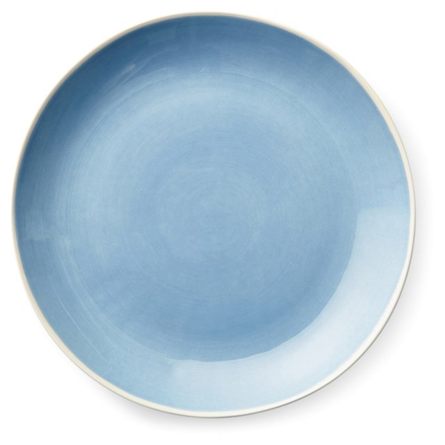 S/4 Hand-Painted Dinner Plates, Blue