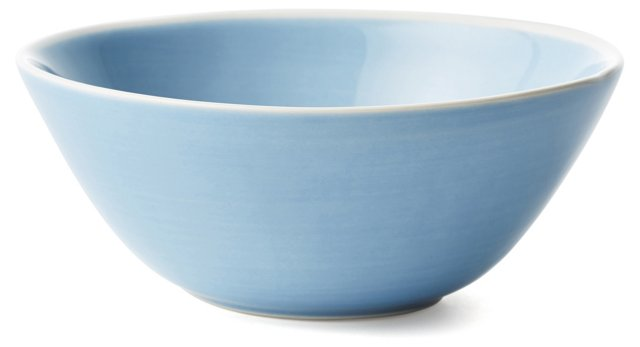 S/4 Hand-Painted Cereal Bowls, Blue