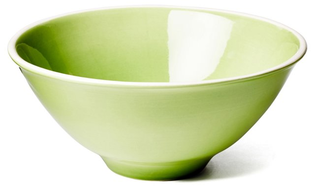 Hand-Painted Serving Bowl, Green