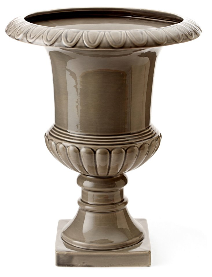 "16"" Earthenware Urn, Gray"