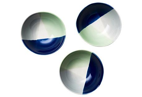 S/3 Dipped Glaze Condiment Bowls, Blue