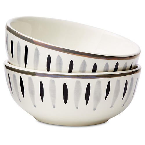 S/2 Hand-Stamped Condiment Bowls, White