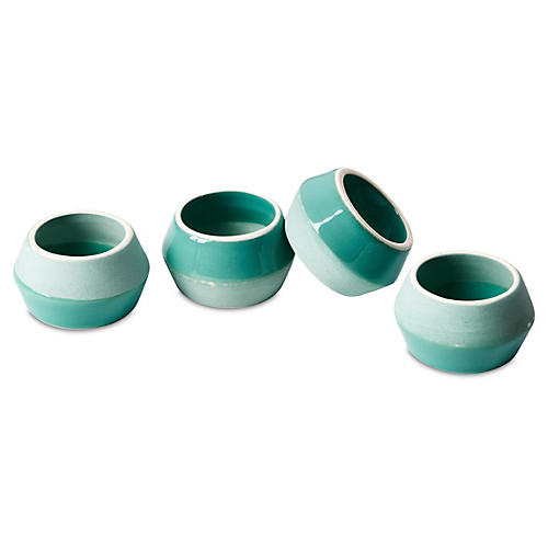 S/4 Two-Tone Ceramic Napkin Rings, Green