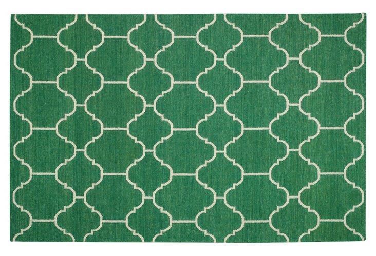 Arabesque Flat-Weave Rug, Emerald