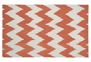 Wild Chevron Flat-Weave Rug, Saffron