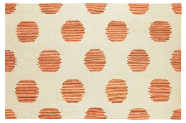 NY Dot Flat-Weave Rug, Persimmon