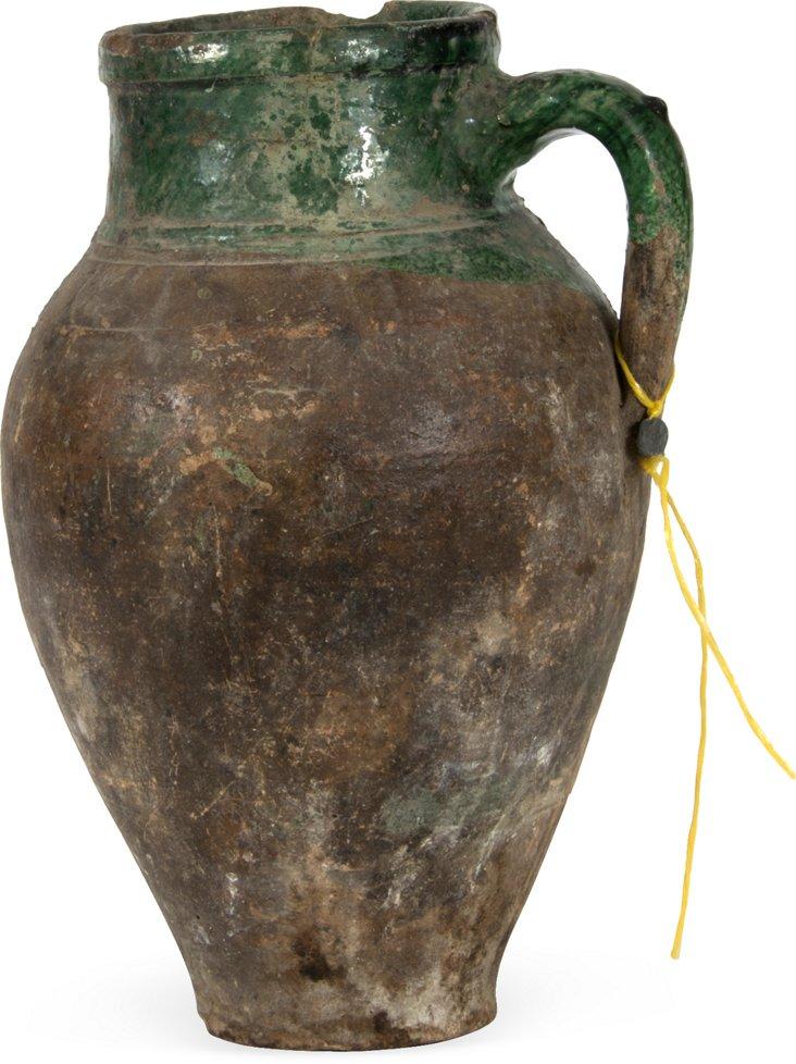 Green Glazed Turkish Oil Jar