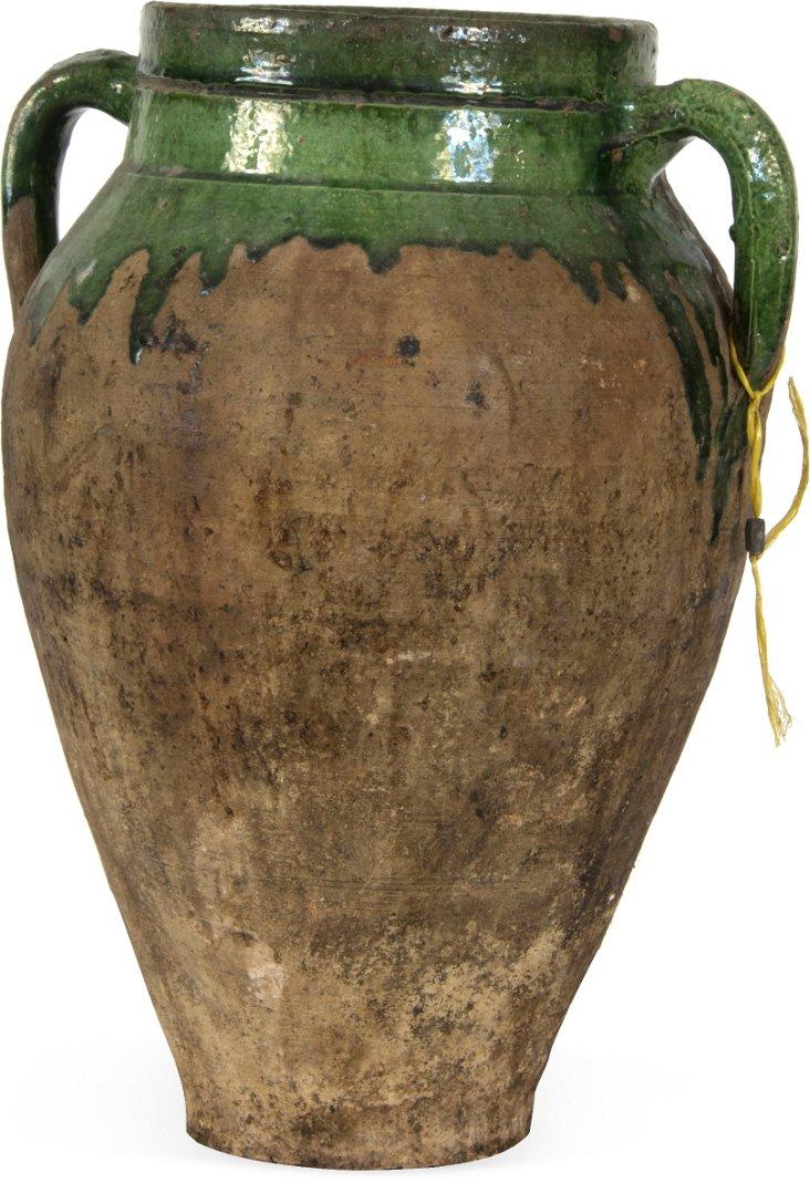 Turkish 2-Handle Green Jar