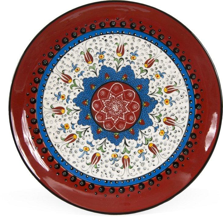 Small Turkish Ceramic Plate, Red