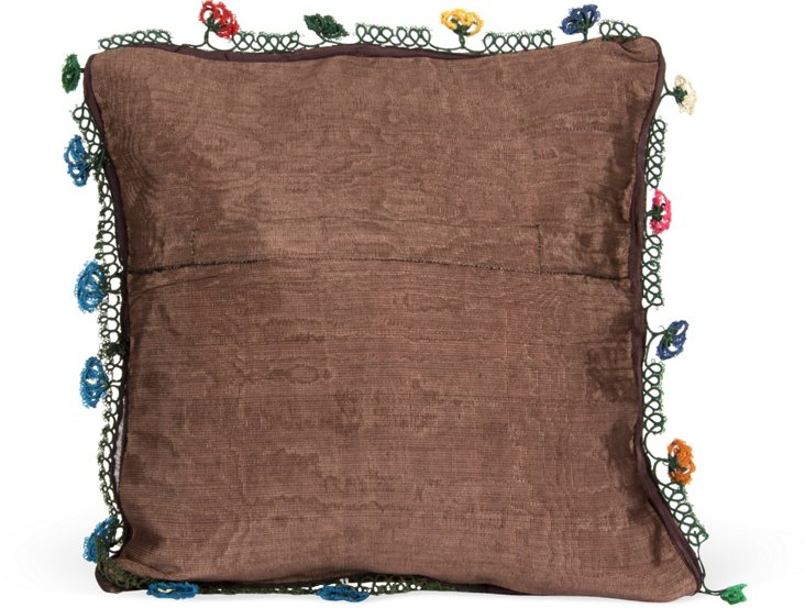 Vintage Turkish Oya Pillow, Brown I