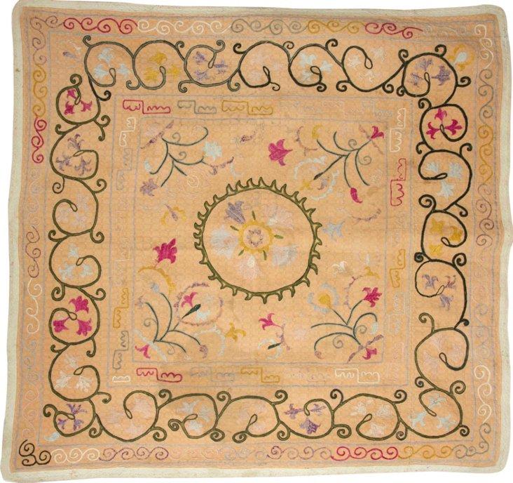 Vintage Suzani Silk Pillow, Neutral II