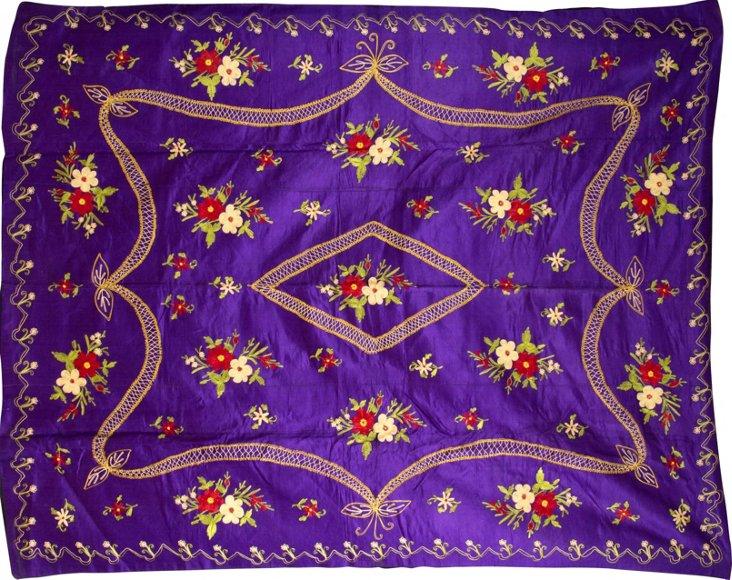 Vintage Purple Silk Throw