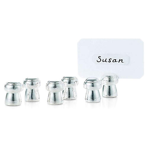 S/6 Silver-Plated Mushroom Place Cards