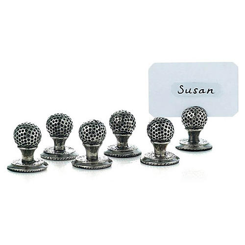S/6 Golf Ball and Tee Place Card Holders