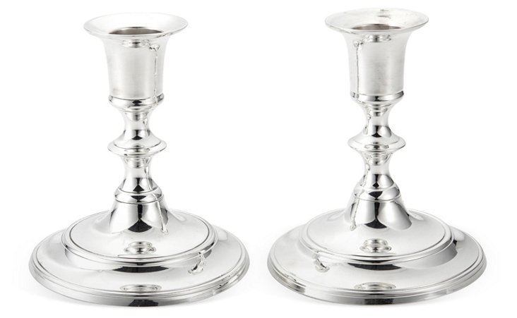 S/2 Silver-Plated Taper Candlesticks