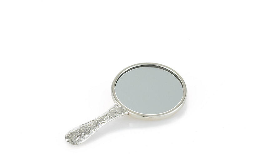 Corbell Sterling Floral Hand Mirror
