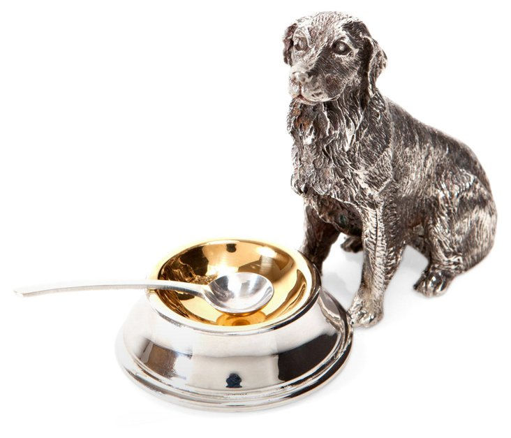 Silver-Plated Seated Dog Salt Cellar