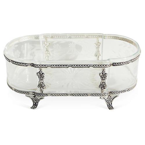 Sterling Dish w/ Glass Insert, Oval
