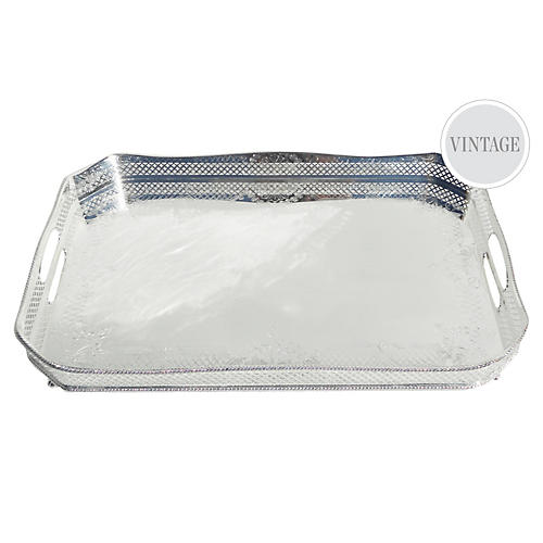 Octagonal Silver-Plated Gallery Tray