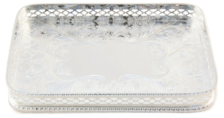 Silver-Plated Gallery Card Tray