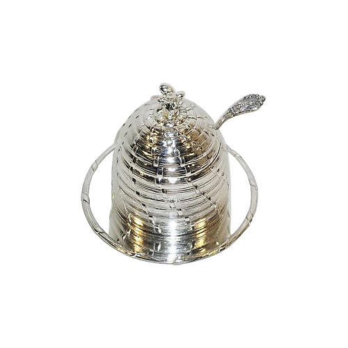 Silver-Plated Honey Pot w/ Liner & Ladle